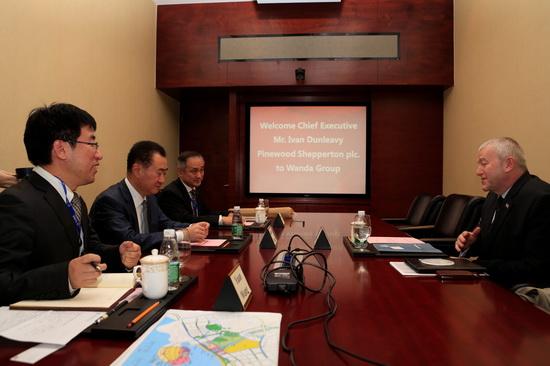 王健林董事長會見英國松林集團CEO