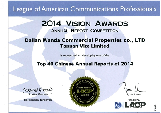 Wanda Commercial Properties receive award for first annual report