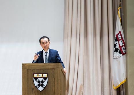 Wang Jianlin gives an open lecture at Harvard Business School