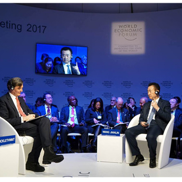 "Chairman Wang Jianlin Attends ""1-on-1 Dialogue"" Global Media Interview at Davos"