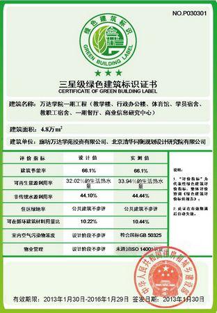 万达学院一期工程获三星绿色建筑运行标识认证