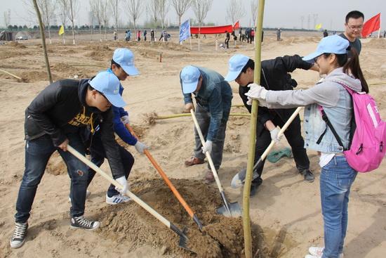 万达银川项目和商管共同开展植树活动 绿化滨河大道