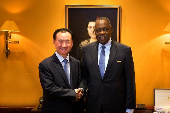 王健林董事长会见非洲足联主席伊萨·哈亚图