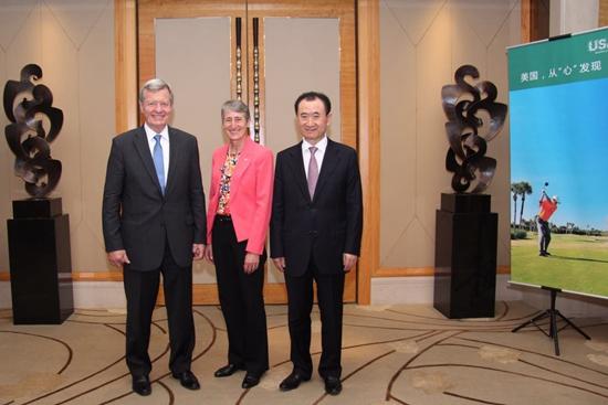 王健林董事长会见美国内政部部长萨莉·朱厄尔