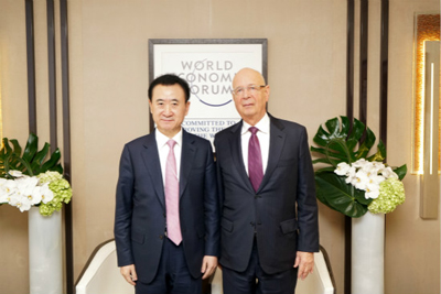 Chairman Wang Jianlin meets with Klaus Schwab, Founder and Executive Chariman of World Economic Forum