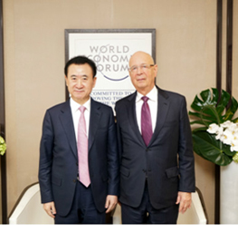 Chairman Wang Jianlin meets with Klaus Schwab, Founder...