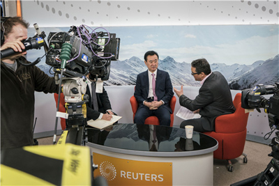 Chairman Wang Receives Interview with Reuters