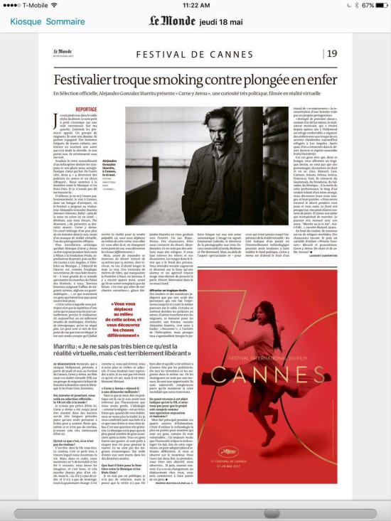 法国《世界报》专版报道传奇影业VR电影作品