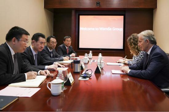 王健林董事长会见英国前首相布莱尔