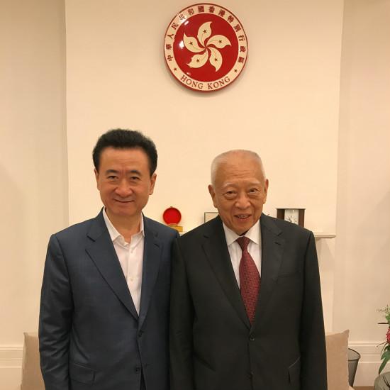 王健林董事长在香港拜会前特首董建华