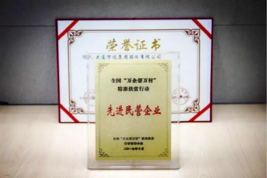 """万达获""""万企帮万村""""精准扶贫行动先进民营企业奖"""