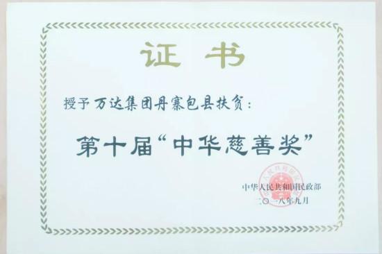 """万达丹寨包县扶贫项目获第十届""""中华慈善奖"""""""