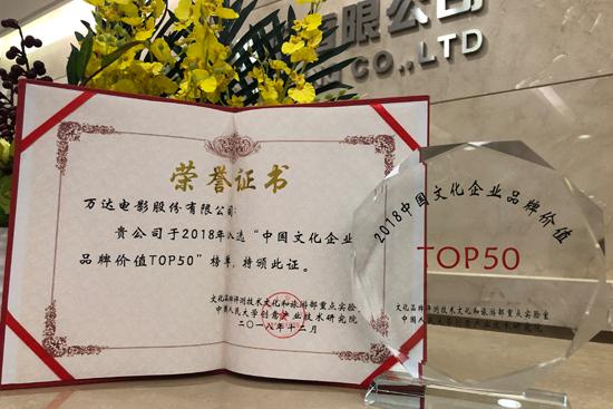 万达电影入选2018中国文化企业品牌价值TOP50