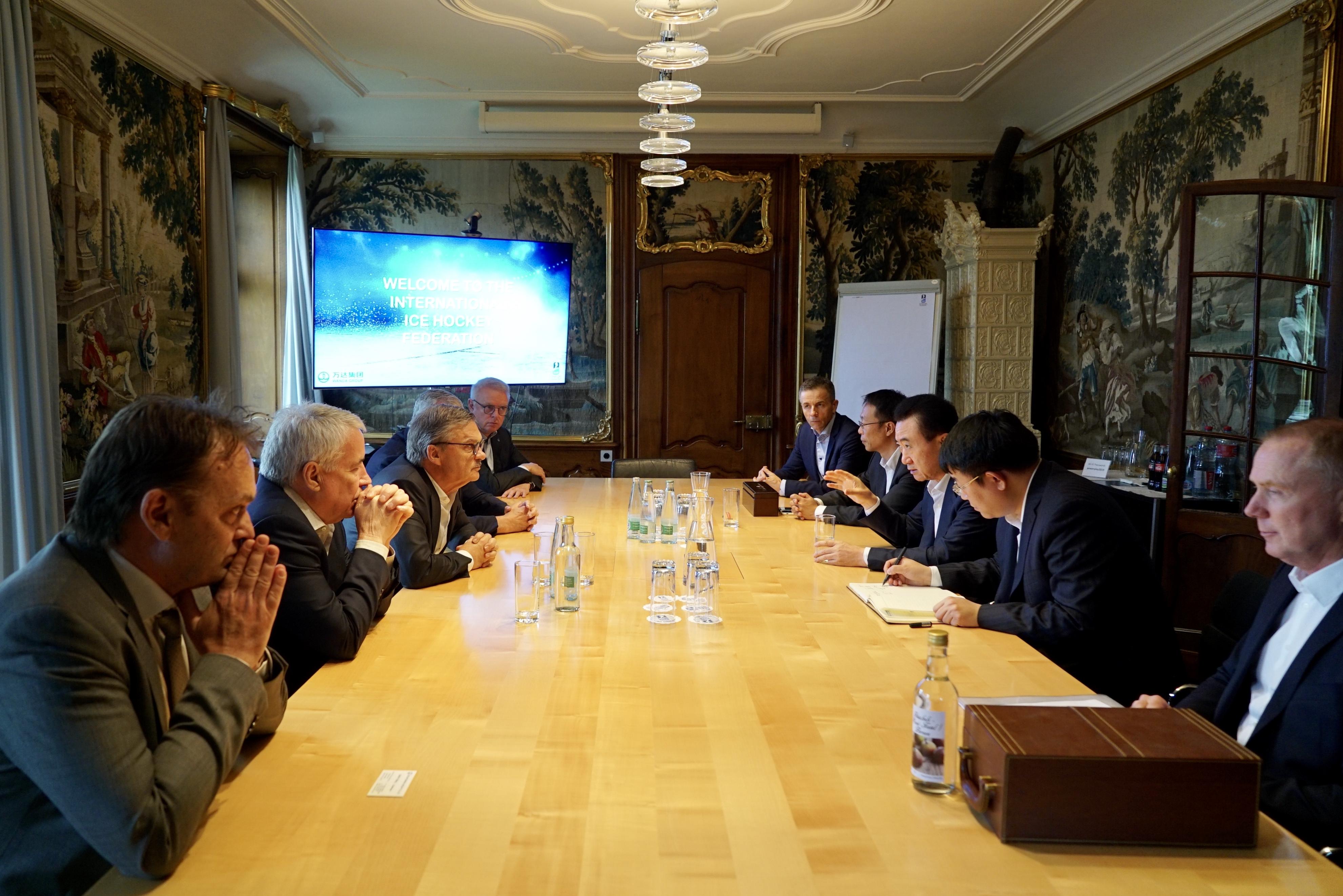 國際冰聯主席雷尼·法塞爾會見王健林董事長