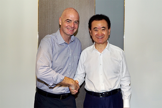 国际足联主席因凡蒂诺会见王健林董事长