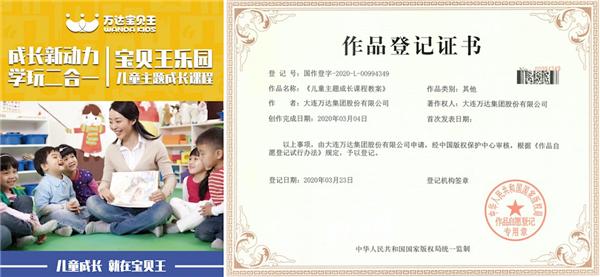 """宝贝王""""儿童主题成长课程""""教案获国家著作权"""