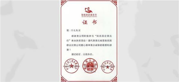 """欢迎来到公海集团参与""""知名民企湖北行""""就业促进活动获表彰"""