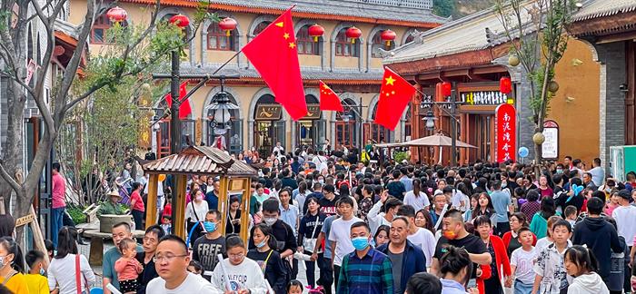 延安红街国庆单日客流人次超10万 开街至今累计超400万
